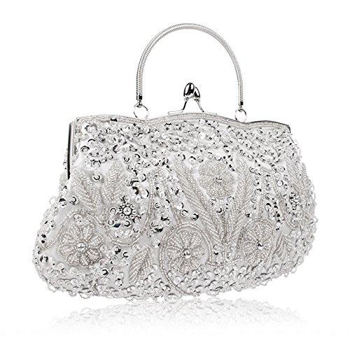 Large Design EROUGE Silver Purse Clutch Bag Evening Beaded Sequin Flower rYYTSqEx