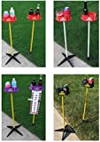 JDT Kaddy Elevated Drink Holders (Set of Two) BLACK / YELLOW- Comes with both ground stakes and hard surface stands. Great for outdoor games (BLACK / YELLOW)