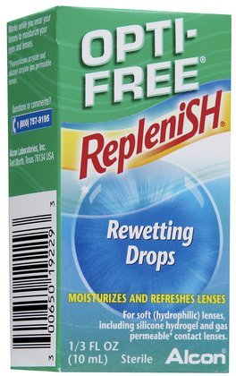 Opti-Free Replenish Rewetting Drops 10 ml 1/3 fl oz, (4 Pack)