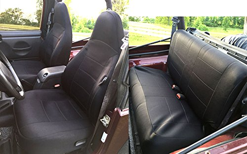 GEARFLAG Jeep Wrangler Neoprene Seat Cover TJ Full Set Custom fit 1997-02 (Front + Rear Set) (Black)