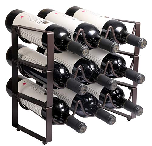 exilot 3-Tier Stackable Wine Rack, Classic Style Wine Racks Holder Storage Stand for Bottles - Perfect for Bar, Wine Cellar, Basement, Cabinet, Pantry, etc - Hold 9 Bottles, Metal