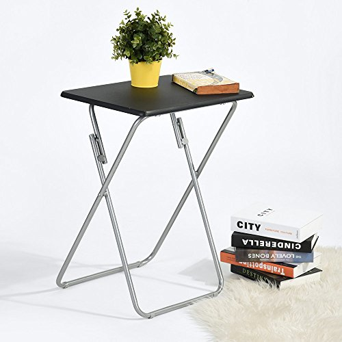 Aingoo Folding TV Tray Snack Table Small Table for Living Room/Bedside Black Metal MDF Phone Table