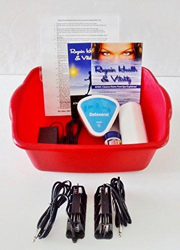 Ionic Detox Foot Bath - Automatic Detox Ionic Foot Bath Spa Chi Cleanse Unit for Home Use. With 2 Super Duty Arrays - By Better Health Company - Free Regain Health & Vitality Booklet & Brochure! (Aqua Chi Foot Bath)