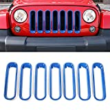 jeep wrangler blue grill inserts - RT-TCZ Front Grill Mesh Grille Insert Frame Trims cover For Jeep Wrangler JK&Rubicon Sahara & Unlimited 2007 - 2017[7PCS]