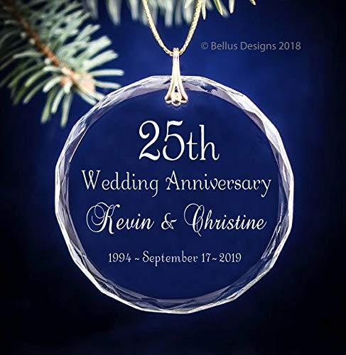 Classic Script ANY Wedding Anniversary Year Keepsake Christmas Ornament Circle Glass Optic Crystal Personalized with Years 10th, 25th,50th, 60th