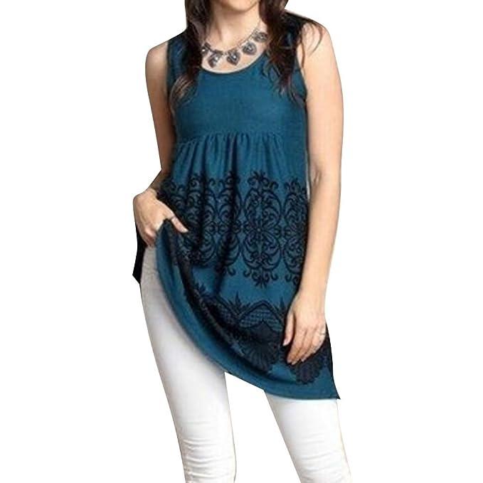 Juqilu Damen Bluse Shirt beiläufige Lose Blumen Gedruckt ärmelloses  Rundhalsausschnitt Oversize Jersey Tunika Damen Tops Kleid af98456574