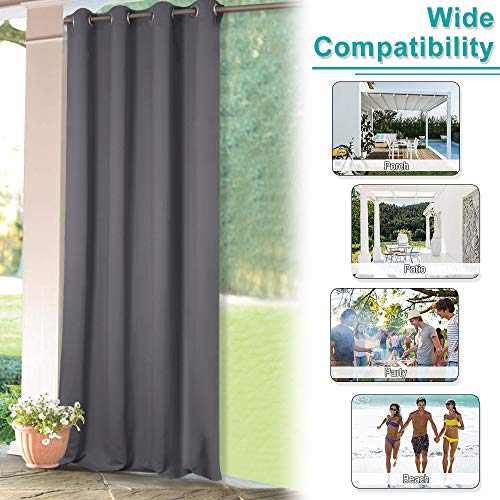 NICETOWN Outdoor Curtains for Patio - Grommet Top Blackout Water Repellent Indoor Outdoor Drapes for Gazebo & Deck (1 Panel,52 by 84 Inch, Grey)