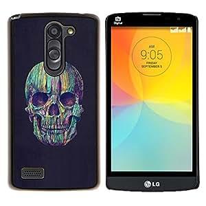 LECELL--Funda protectora / Cubierta / Piel For LG L Bello L Prime -- Trullo gris Cráneo Vignette Muerte Púrpura --