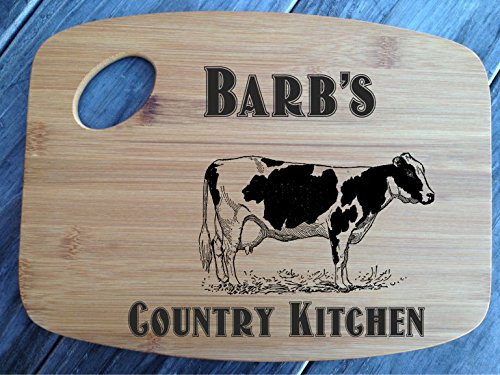 Cow Country Kitchen Cutting Board Bamboo Personalized
