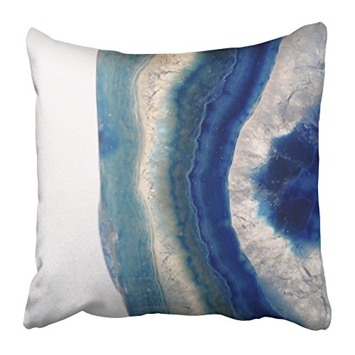 (Emvency Throw Pillow Covers 20 x 20 Inches White Mineral Blue Agate Slice Stone with Details of Pattern Precious Close Sea Gem Pillow Case Decorative Cushion Cover Two Sides Print Pillowcase)