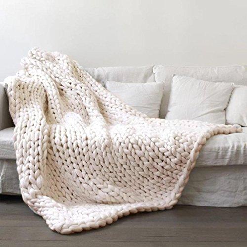 Makaor 100X120cm Chunky knit blanket Merino wool arm knitted throw Super large hand knitting yarn Pet Bed Chair Sofa Yoga Mat Rug By (Beige, Size:100cmx120cm/39.4