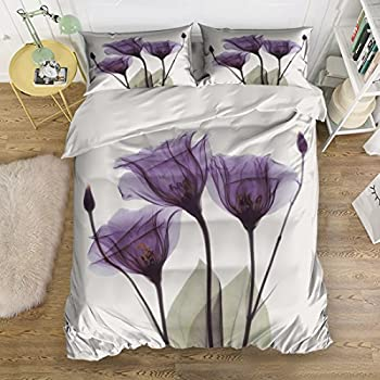 Image of Anzona 4pcs Bedding Set Quilt Bedspread-Purple Flower Lavender Hope Duvet Cover Set for Childrens/Kids/Teens/Adults, Queen Size
