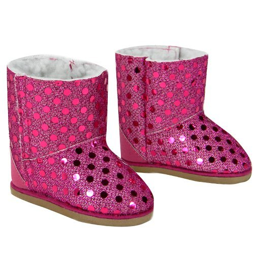 Doll Boots Hot Pink Sequins, 18 Inch Doll Shoes Fits 18 Inch American Girl Dolls & More! Hot Pink Sequin Boots