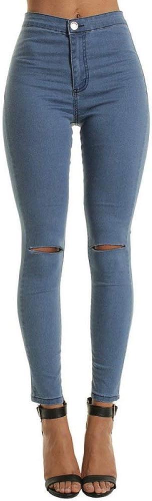 NOBRAND Vita Alta Casual Jeans Skinny per le Donne Foro Vintage Ragazze Slim Strappato Denim Matita Pantaloni Alta Elasticit/à Nero Blu Jeans