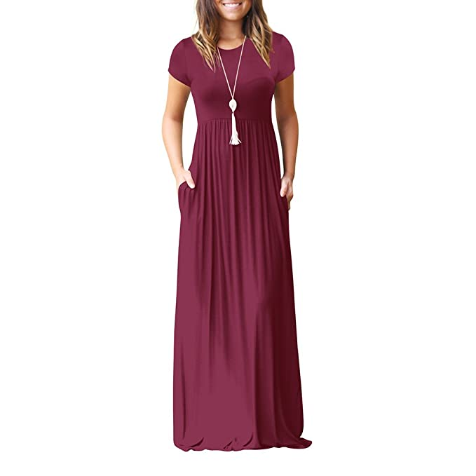 Idingding Long Maxi Dress, Womens Spring Summer Short Sleeve Plain Pleated Tunic T-Shirt Dress, 6511D Wine Red, XL