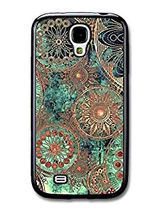 Floral fits Samsung Galaxy S4 Case Abstract Flowers Pastel Green Gold Copper