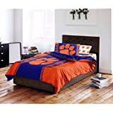 D&H 5 Piece NCAA Clemson University Tigers Paw Power Comforter Full Size Set, Sports Patterned Bedding, Featuring Team Logo, Fan Merchandise, Team Spirit, College Basket Ball Themed, Orange, Purple