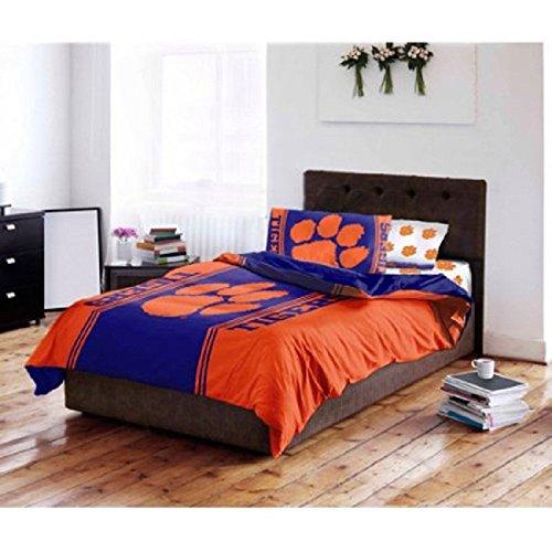 Ncaa 5 Piece Full Comforter - D&H 5 Piece NCAA Clemson University Tigers Paw Power Comforter Full Size Set, Sports Patterned Bedding, Featuring Team Logo, Fan Merchandise, Team Spirit, College Basket Ball Themed, Orange, Purple