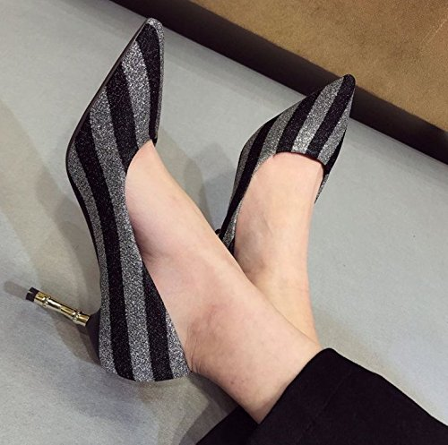 Match Work Fine Elegant Gold Shoes Single Shoes 7Cm A Heels Leisure MDRW Black Spring 38 Point With Lady Temperament All YqSUwf