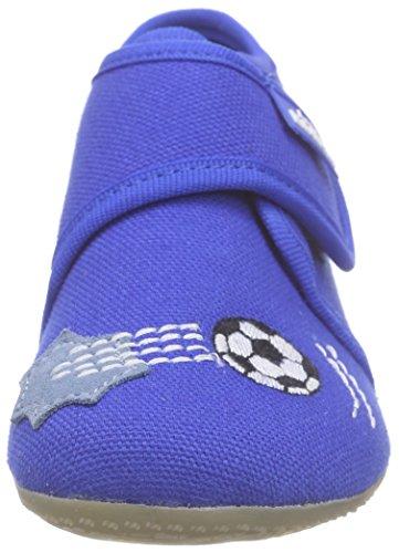 Living Kitzbühel Baby Klett Mit Dino & Fußball - Zapatillas de casa Bebé-Niñas Azul - Blau (blue coral 563)