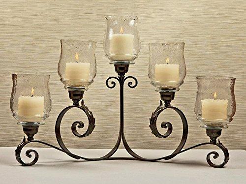 KensingtonRow Home Collection Candelabras - Rio Rancho 5-Light Hurricane Candle Holder - Bronze Finish - 5 Light Collection Candelabra