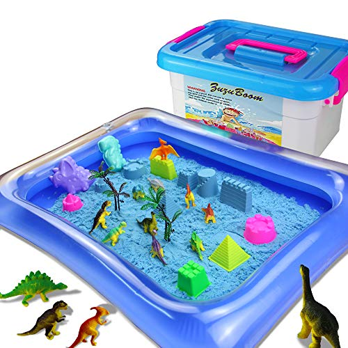 Zuzu Boom Kinetic Moon Sand Toys and Sand Molds Kit - Set Includes: 2 Pound Play Sand, 10 Dinosaur Toys,Inflatable Tray, Castle, Tools