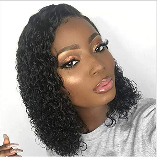Full Lace Human Hair Wigs Short Curly Bob Wigs 150% density Full Lace Wig Gluess Virgin Human Hair For Black Women Natural Color (150 density,12 inch)