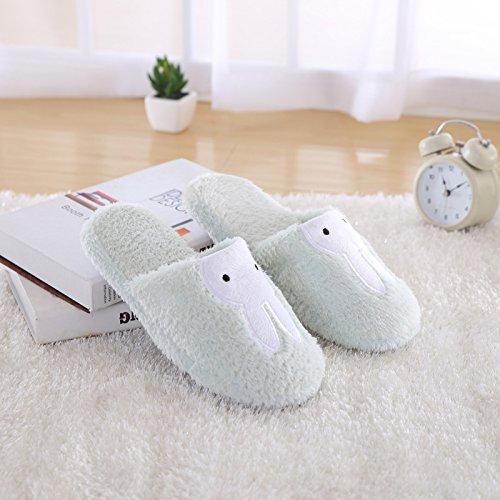 Fankou simpatico coniglio fondo morbido cotone pantofole home matura in autunno e inverno uomini e donne caldo cotone pantofole coppie), blu cielo ,3839