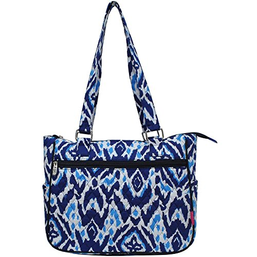 Ngil Quilted Cotton Shoulder Bag (Blue Ikat ()
