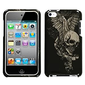 iPod Touch 4th Generation Snap-On Protector Hard Case Skull Print BlackWhite