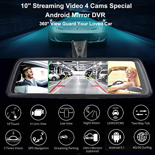 ShiZhen 10 inch Full Screen 4G Touch IPS Universal Bundled Car Dash Cam Rear View Reversing Mirror with GPS Navi Bluetooth WiFi Android 5.1 Dual Lens FHD 1080P