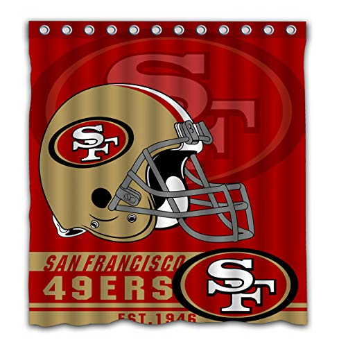 Felikey Custom San Francisco 49ers Waterproof Shower Curtain with Color Bathroom Decoration Size of 66x72 Inches]()