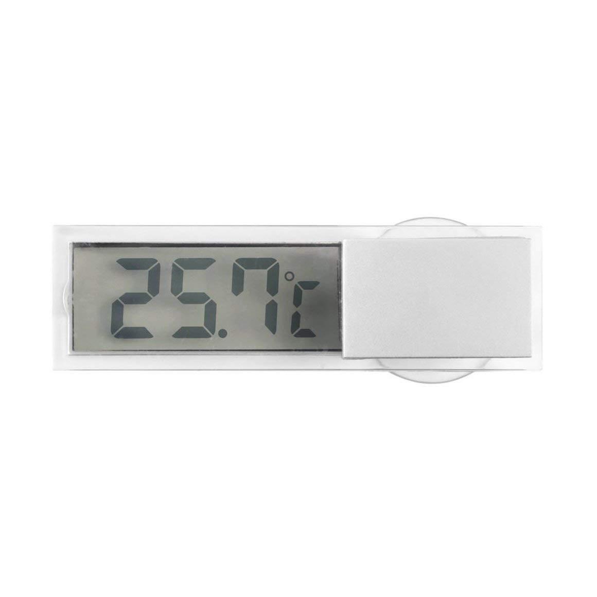 Funnyrunstore Pantalla LCD digital Parabrisas del coche Medidor de temperatura Succi/ón Veh/ículo Term/ómetro Autom/óvil Espejo retrovisor Term/ómetro transparente