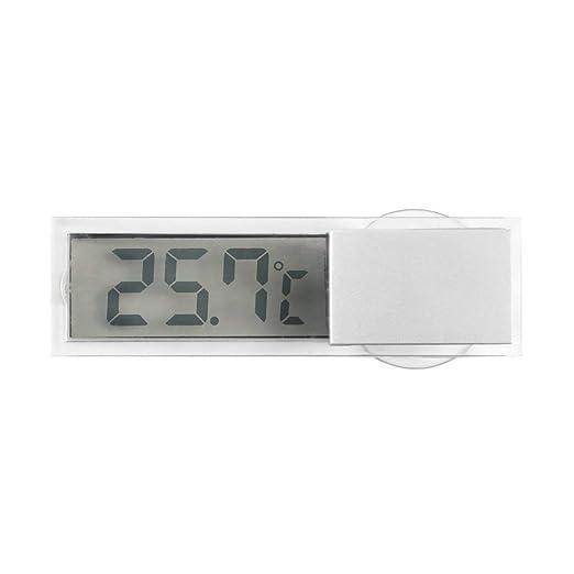 transparente Funnyrunstore Pantalla LCD digital Parabrisas del coche Medidor de temperatura Succi/ón Veh/ículo Term/ómetro Autom/óvil Espejo retrovisor Term/ómetro
