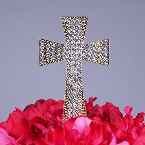 Unik Occasions Crystal Rhinestone Cake Topper - Gold Cross