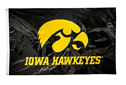 NCAA Iowa Hawkeyes 2-Sided Nylon Applique Flag with Grommets, 3' x 5', Black