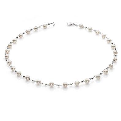 Halsschmuck  Perlenkette Kette Collier Halskette echte Süßwasser-Perlen creme ...