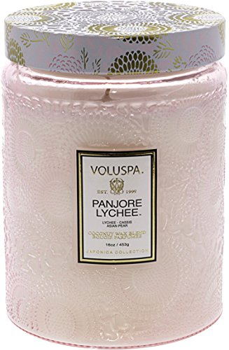 Cassis Candle - Voluspa Panjoree Lyche Large Glass Jar Candle, 16 Ounce