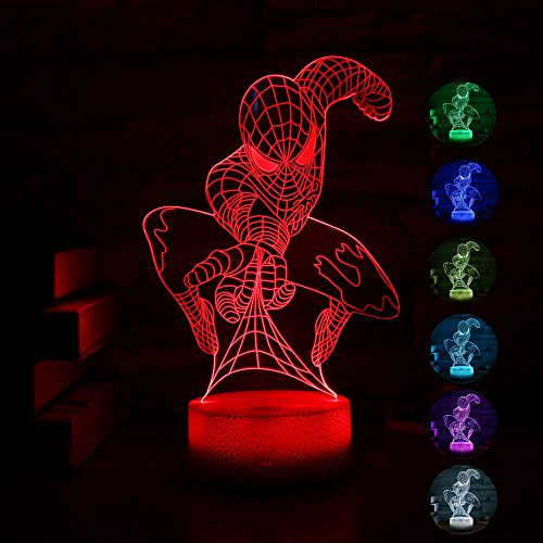 Spider-man+3D+Night+Lamp+ Products : Gift Ideas Spiderman Night Lights 3D Illusion Lamp Led Desk Lamps Unique Anniversary Gifts for Baby Home Decor Office Bedroom Wedding Party Decorations Nursery Lighting 7 Color (spider men)