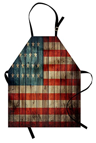 Ambesonne USA Apron, Fourth of July Independence Day Painted Old Wooden Rustic Background Patriot, Unisex Kitchen Bib with Adjustable Neck for Cooking Gardening, Adult Size, Blue Red -