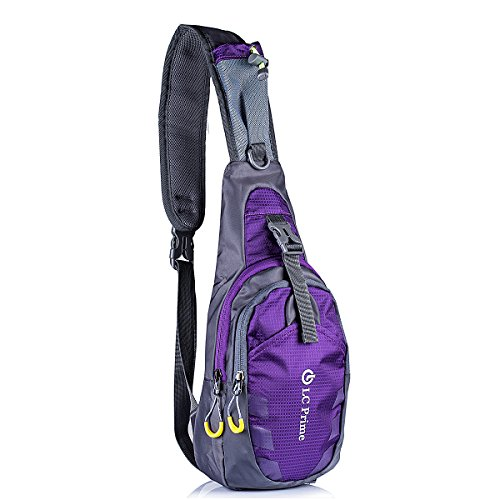 Price comparison product image LC Prime® Sling Bag Chest Shoulder Unbalance Gym Fanny Backpack Sack Satchel Outdoor Bike nylon fabric purple 1