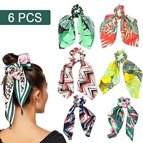 (6Pcs Hair Scrunchies Satin Silk Hair Scarf Band Ponytail Holder Elastics Scrunchy Ties Soft Ropes for Women Girls Hair Accessories)