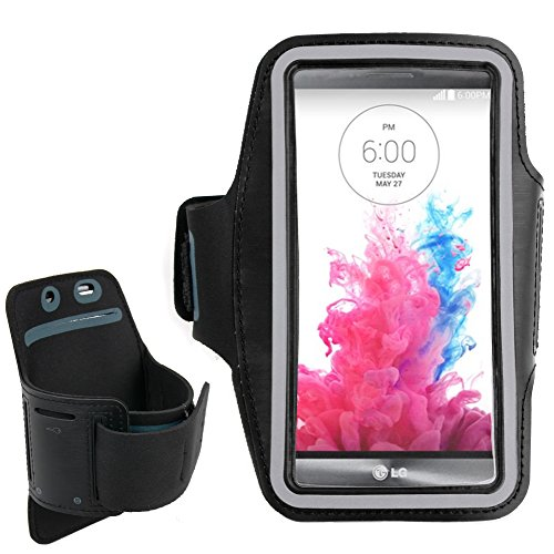 DURAGADGET Exclusive Unisex Sports Armband in Black - Running, Cycling & Gym Smartphone Case / Cover / Holder for the LG G3 & LG G3 Stylus