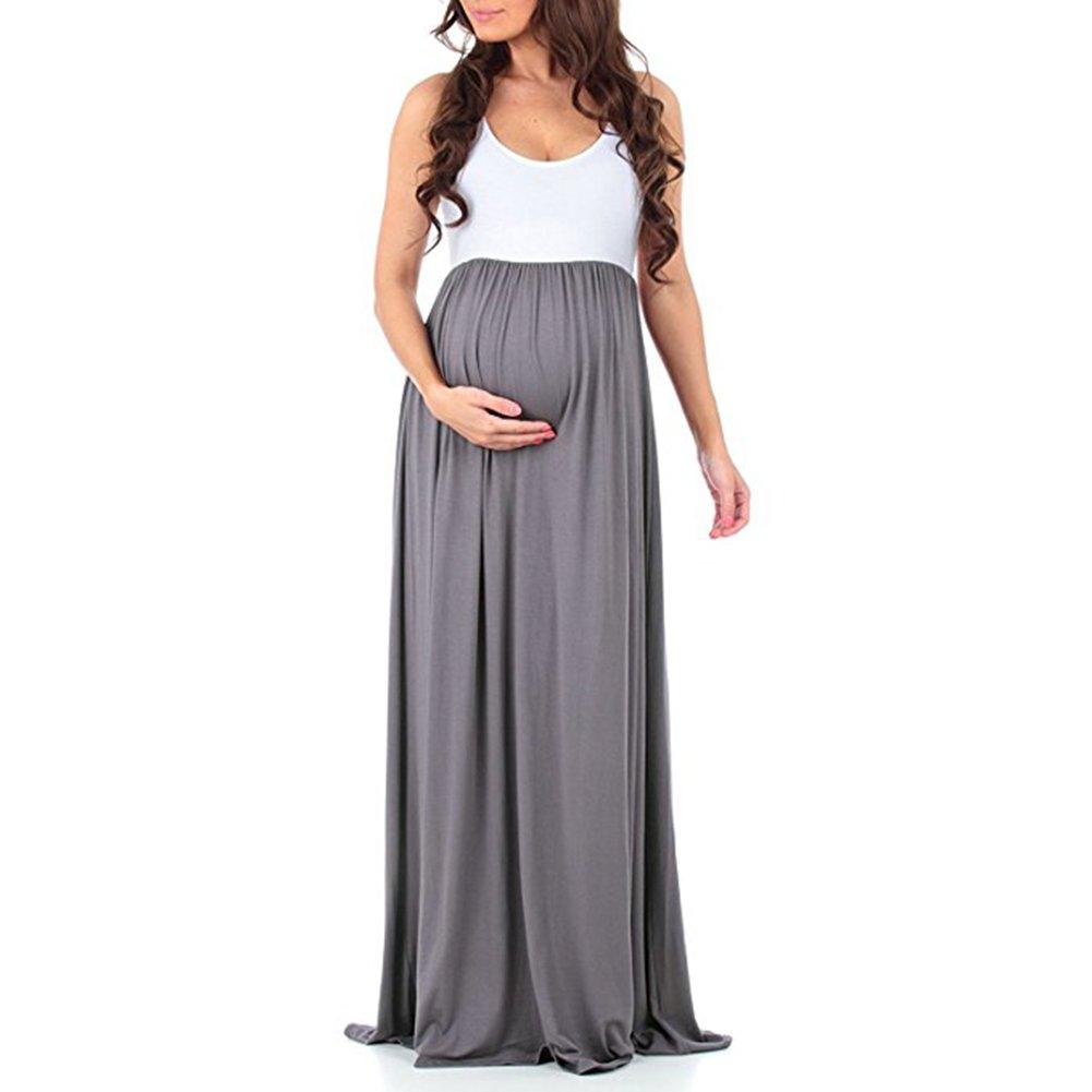 e4ffdae0a2522 Womens Sleeveless Maxi Maternity Dress Casual Ruffled Color Block Tank Dress  (XL, Grey) at Amazon Women's Clothing store: