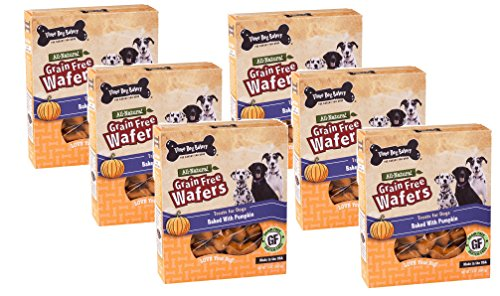 Cheap (6 Pack) Three Dog Bakery Pumpkin Grain-Free Wafer Baked Dog Treats, 13-Ounces each