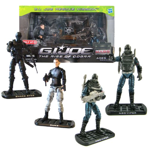 """Hasbro Year 2009 G.I. JOE Movie Series """"The Rise of Cobra"""" Exclusive 4 Pack 4 Inch Tall Action Figure Set - GI JOE RESCUE MISSION with Ninja Commando SNAKE EYES, CONRAD """"DUKE"""" HAUSER, and 2 Cobra Naval Officer NEO-VIPER Plus 3 Missile Launchers, 3 Missiles and More Weapon Accessories"""