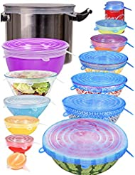 longzon Silicone Stretch Lids, 14Pack XXL Up to 9.8'' Diameter Reusable Durable Food Storage Covers for Bowls, 7 Different Sizes to Meet Most Containers, Dishwasher & Freezer Safe