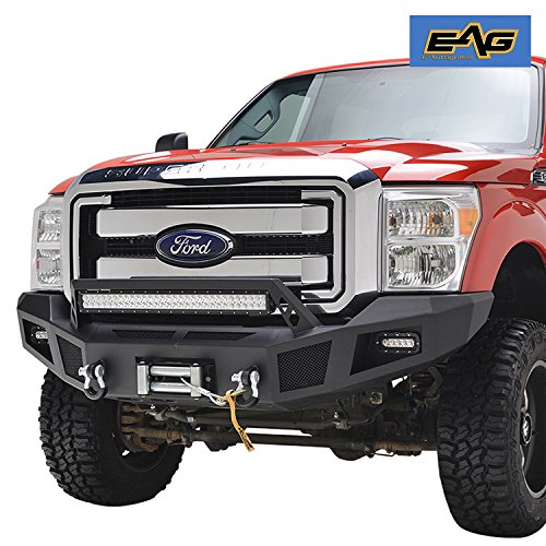 Ford Winch (EAG Heavy Duty Front Winch Bumper with LED Lights for 11-16 Ford Super Duty F250 F350 F450)