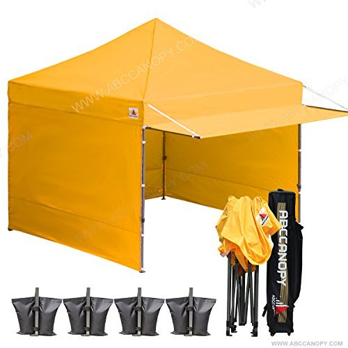 Commercial High Peak Canopy ((20+colors) 10x10 AbcCanopy Easy Pop up Canopy Tent Instant Shelter Commercial Portable Market Canopy with Matching Sidewalls, Weight Bags, Roller Bag,BOUNS Canopy awning (Gold))