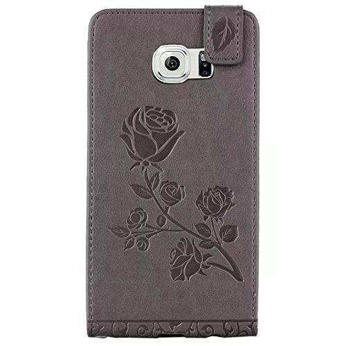 SRY-1 La PU + TPU grabó en relieve la caja vertical del cuero del tirón del estampado de plores de Rose con la ranura para tarjeta para Samsung Galaxy S6 ( Color : Brown ) Gray